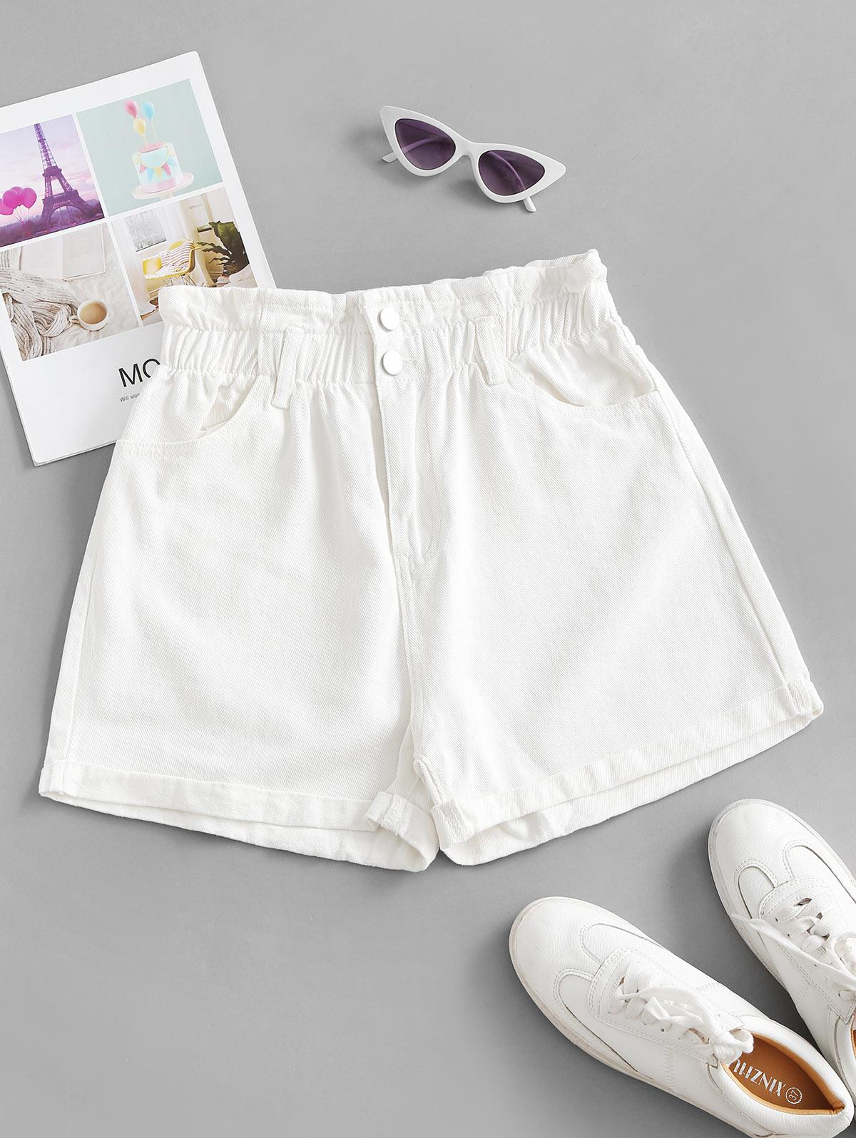 Cuffed Hem Denim Pockets Paperbag Shorts