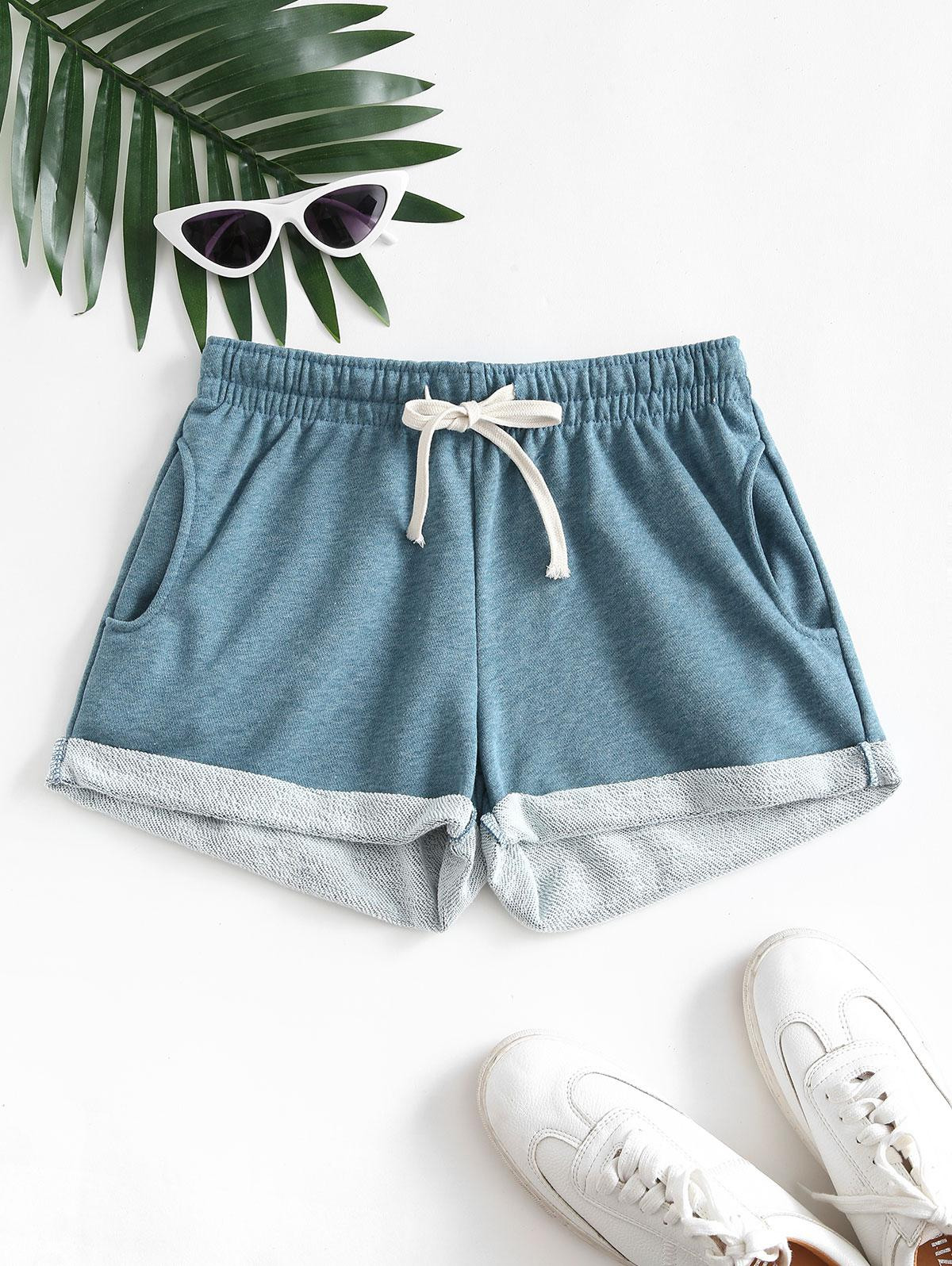 Pockets Drawstring Cuffed Hem Sweat Shorts