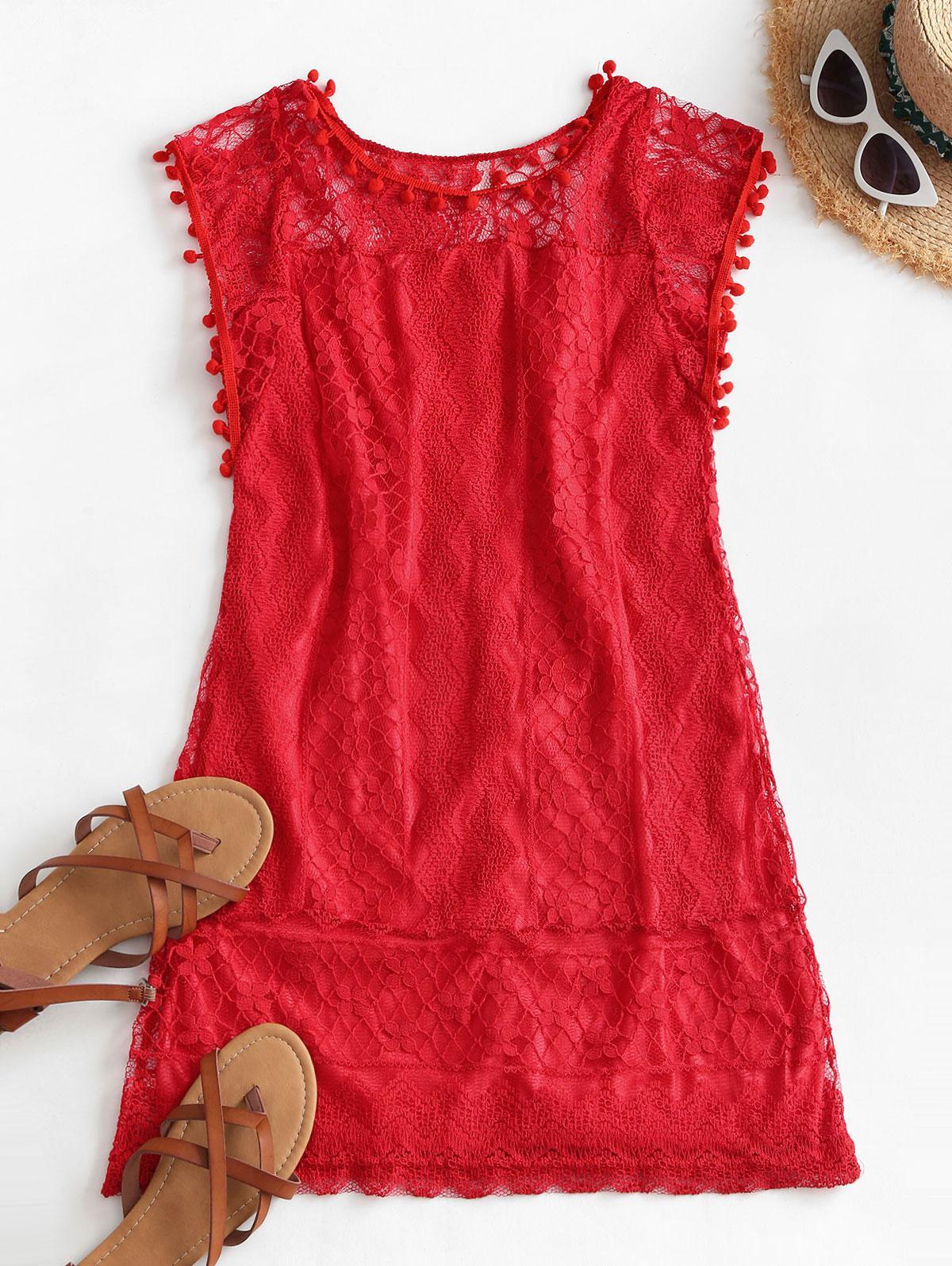 Lace Pompoms Trim Mini Dress
