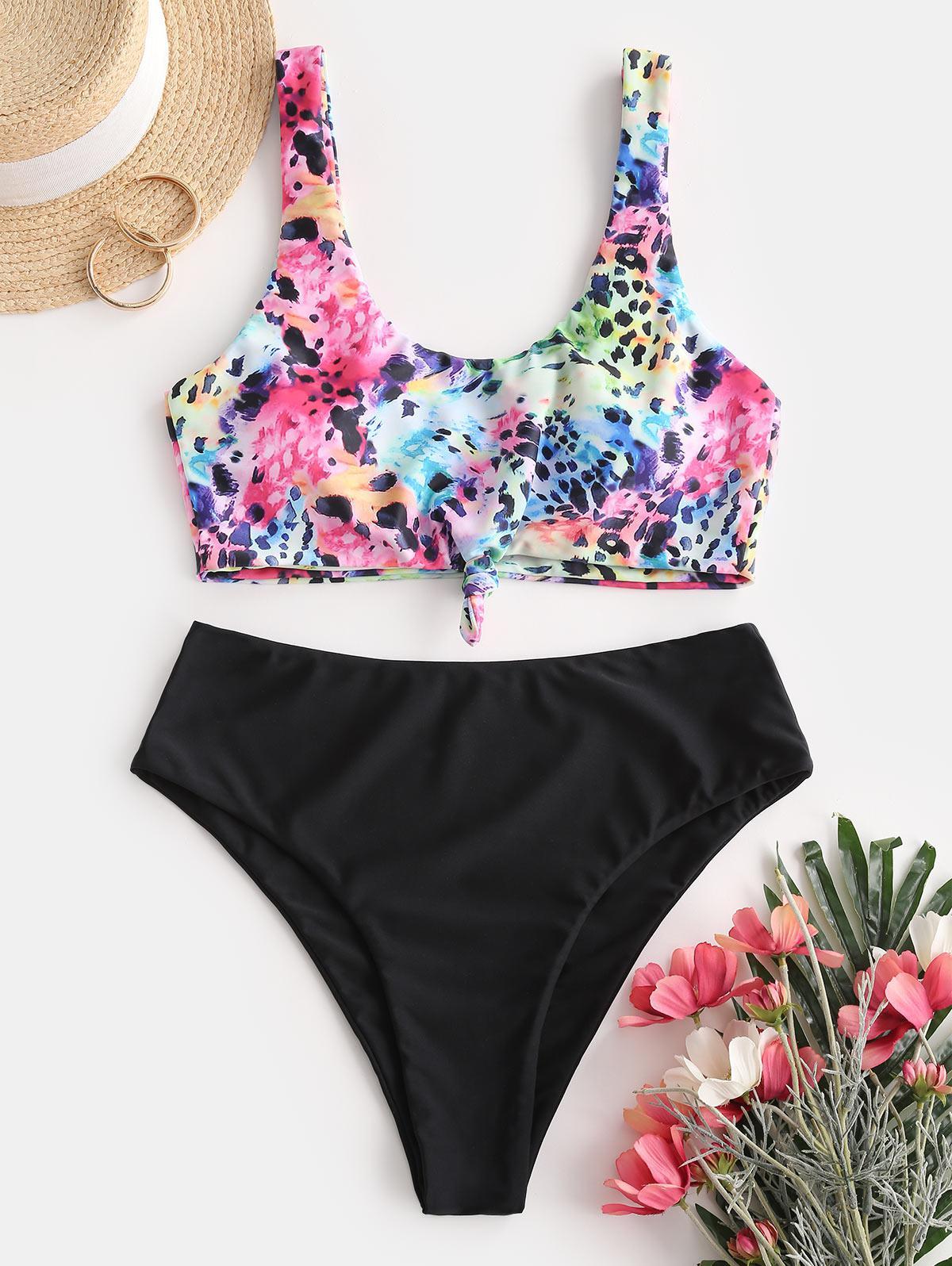 zaful Animal Print Knotted Tankini Swimwear