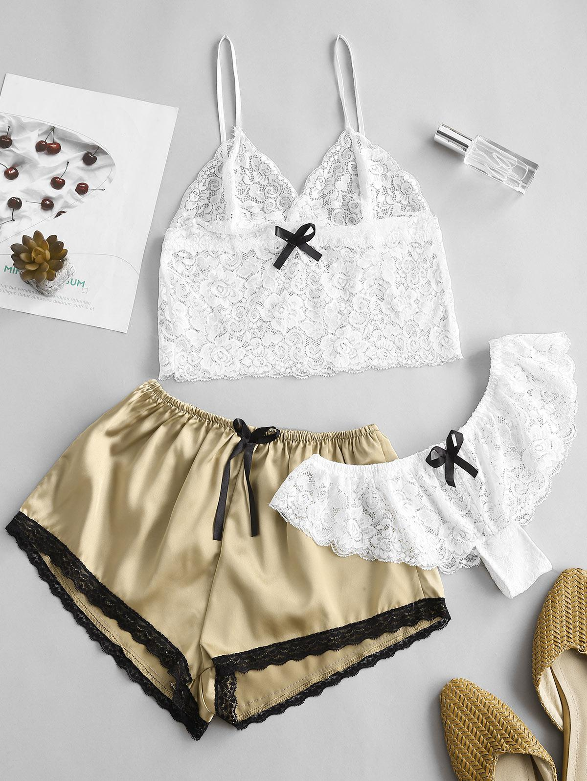 Satin Lace Panel Three Piece Pajama Set