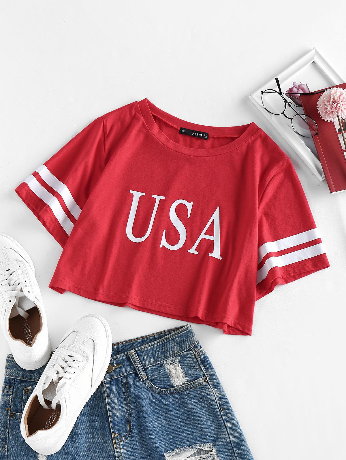 ZAFUL Striped USA Graphic Crop T-shirt