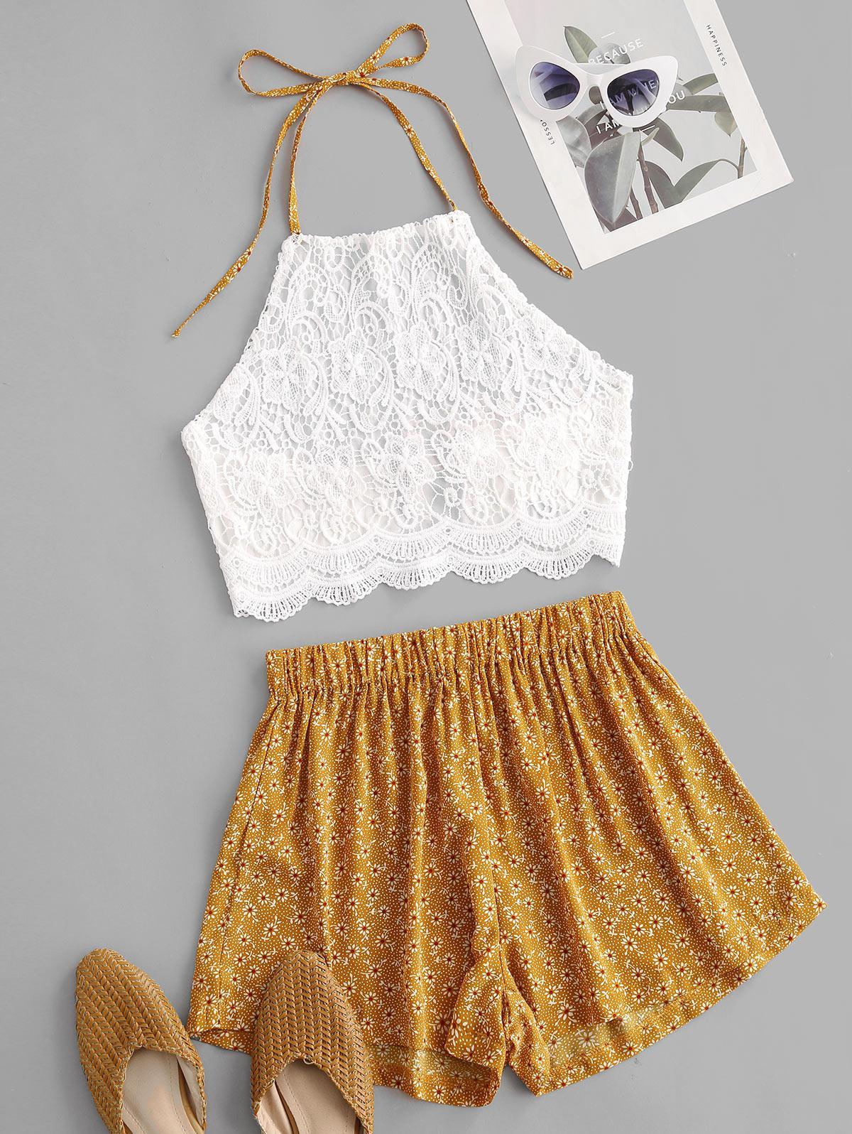 Crochet Lace Ditsy Print Halter Two Piece Set