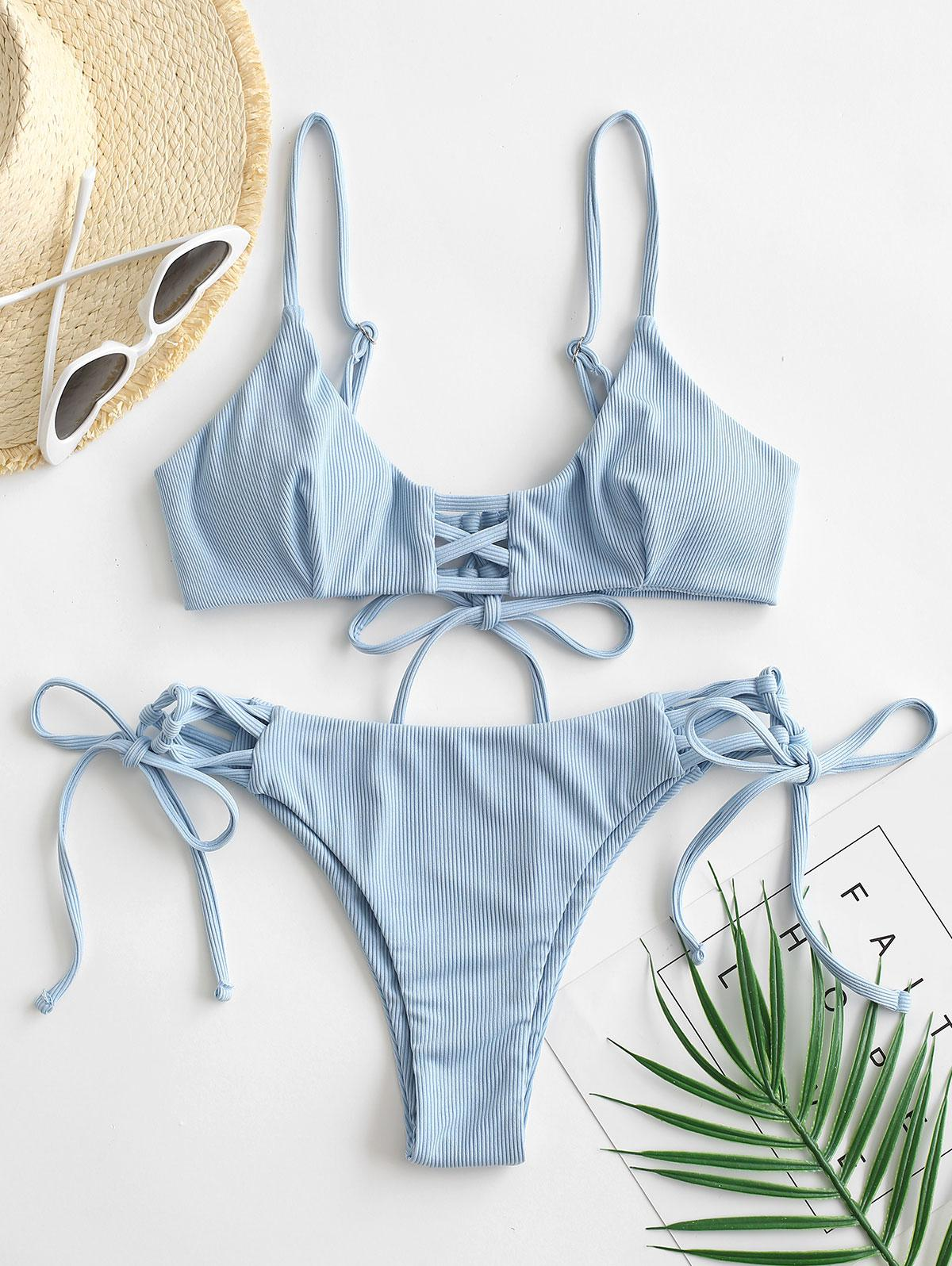 ZAFUL Ribbed Lace Up Plain Bikini Swimwear