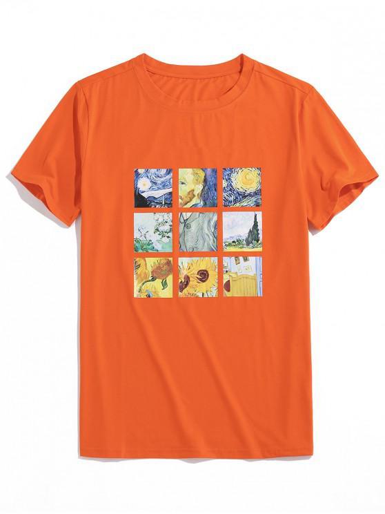 ZAFUL Grafica Pictura Print T-shirt - Portocale 2XL