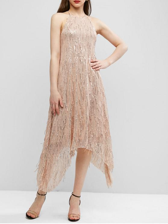 affordable ZAFUL Halter Sparkle Sequined Open Back Party Dress - APRICOT S