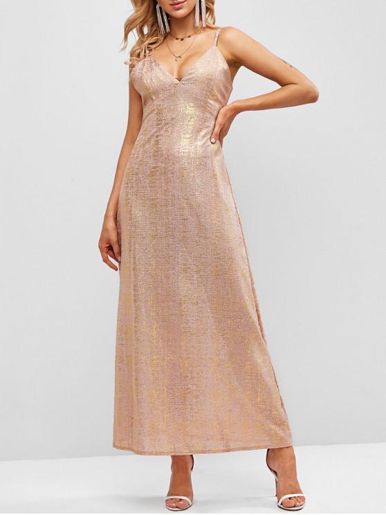 fashion ZAFUL Cami Gilding High Slit Maxi Dress - PINK S
