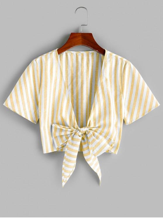 buy ZAFUL Tie Knot Stripe Cropped Blouse - CORN YELLOW XL
