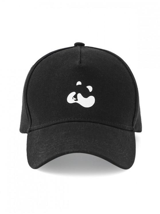 buy Panda Print Cotton Baseball Cap - BLACK