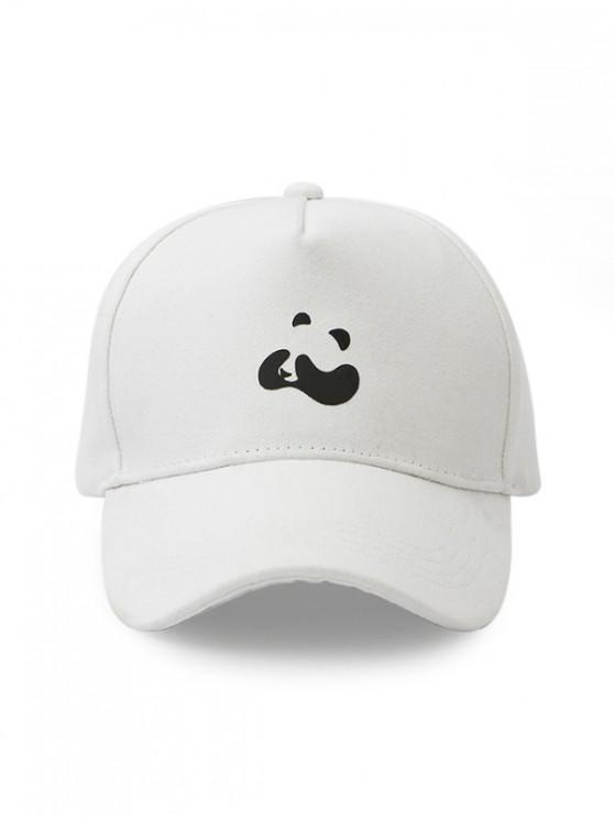 women Panda Print Cotton Baseball Cap - WHITE