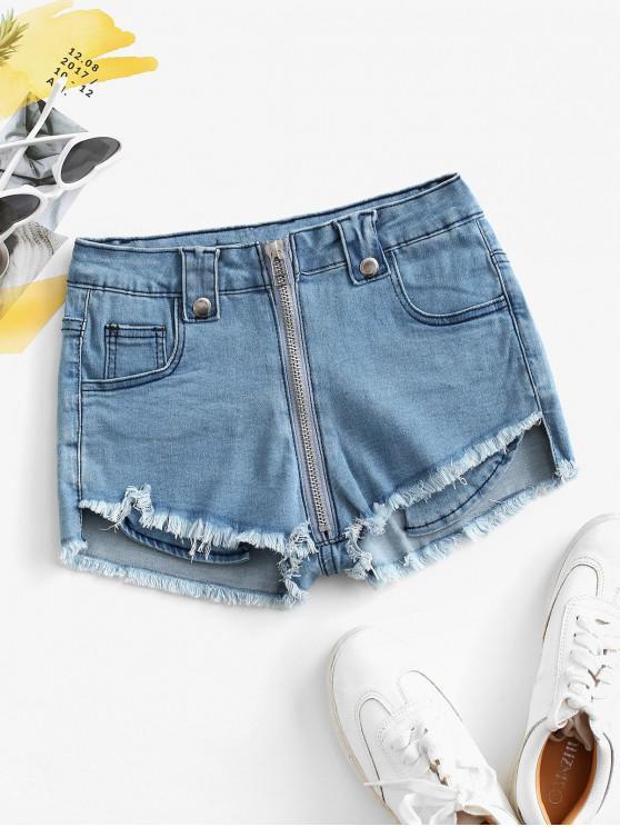 Shorts de Brim Rugoso com Bainha Desfiada e Zíper - Azul M