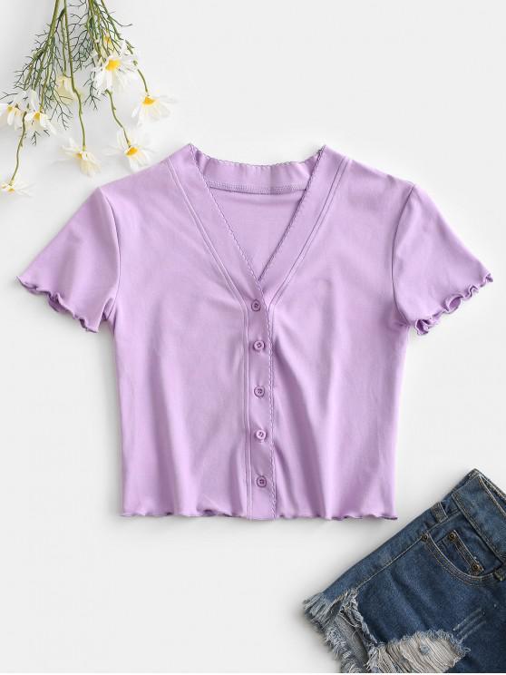 outfits Button Up Lettuce Trim Fitted Crop Top - LIGHT PURPLE S