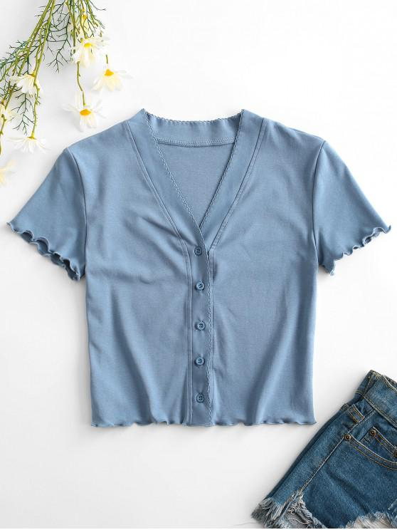 Button Up Lettuce Trim Fitted Crop Top - أزرق فاتح S