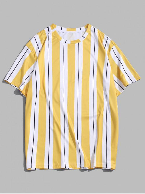 Short Sleeve Vertical Stripes Print T-shirt - الأصفر M