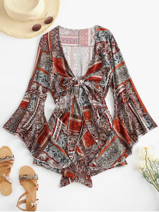 online Printed Cut Out Tie Front Flare Sleeve Romper - DEEP RED XL