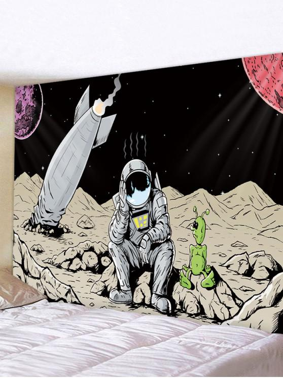 affordable Outer Space Astronaut Rocket Print Decorative Wall Tapestry - MULTI W59 X L51 INCH