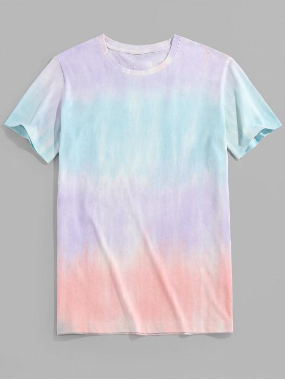 ZAFUL Contrast Tie Dye Print Round Neck T-shirt - ضوء ارجواني 2XL