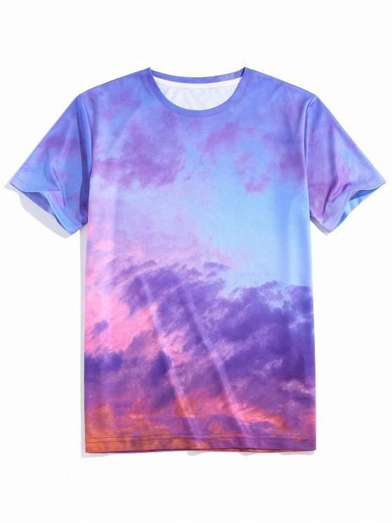 ZAFUL Colorful Clouds Print Short Sleeve T-shirt - أزرق S