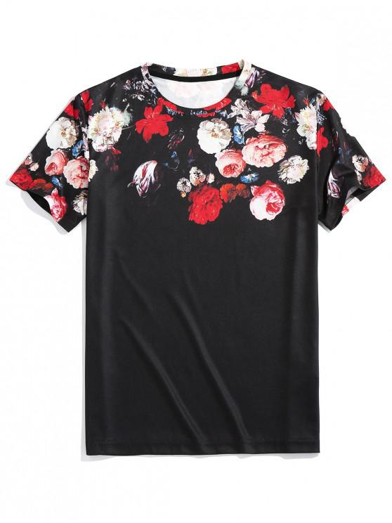 ZAFUL Short Sleeve Flower Print T-shirt - أسود XL