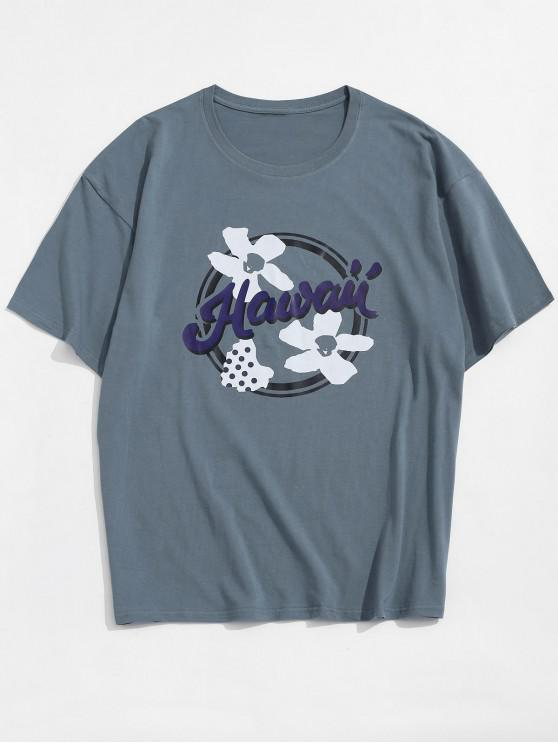 fancy Flower Hawaii Graphic Basic T-shirt - BLUE 3XL