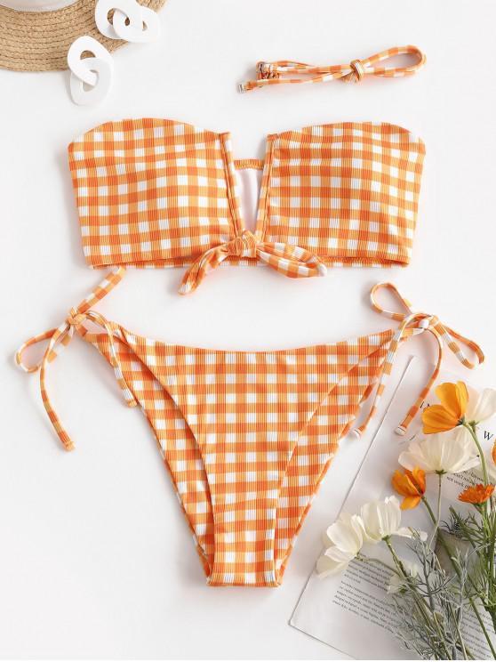 hot ZAFUL Visual Fun In Wired Bikini - DARK ORANGE M