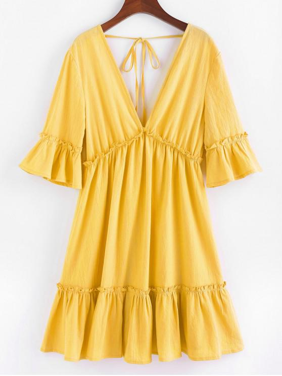 new ZAFUL Bell Sleeve Ruffle Plunging Dress - YELLOW S