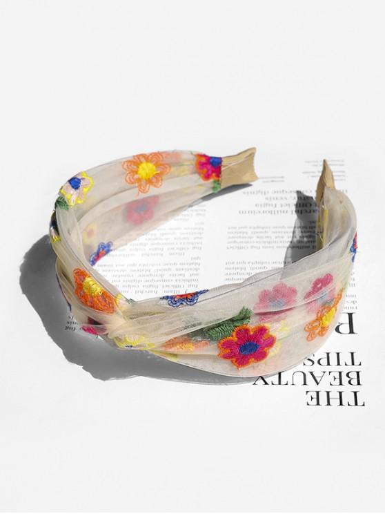 chic Floral Embroidery Mesh Knotted Headband - WHITE