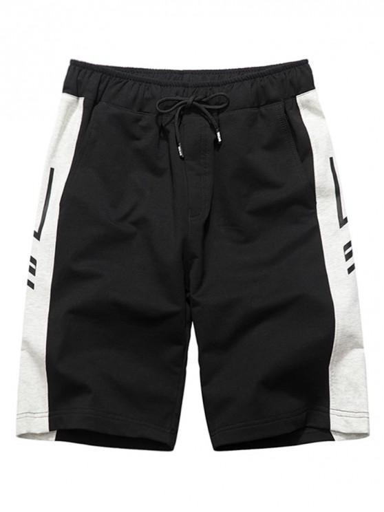 chic Graphic Print Contrast Sweat Shorts - BLACK M