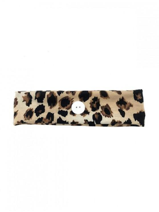 Leopard Print Knotted Headband with Button - الأصفر