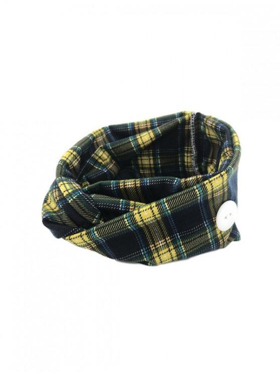 hot Cross Yoga Button Plaid Headband - YELLOW