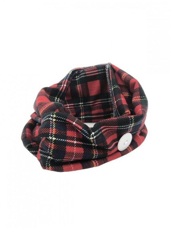 outfits Cross Yoga Button Plaid Headband - RED