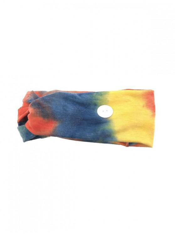 trendy Cross Elastic Button Watercolor Headband - SKY BLUE BLUE YELLOW