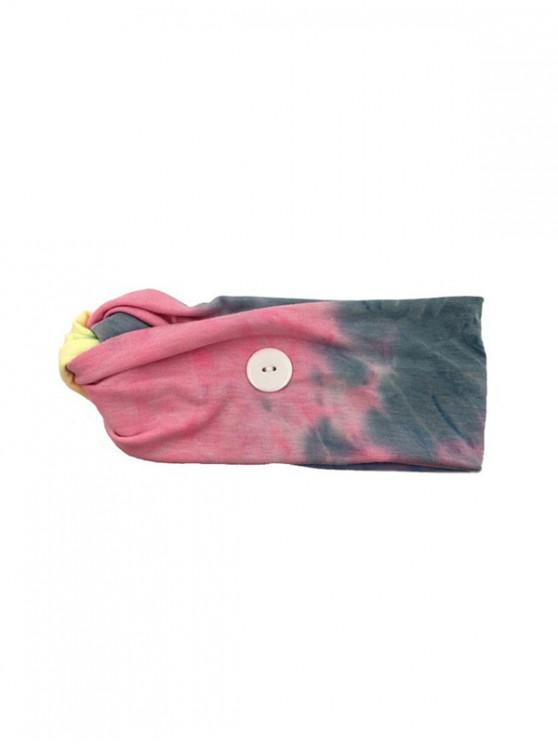fashion Cross Elastic Button Watercolor Headband - PINK PINK BLUE