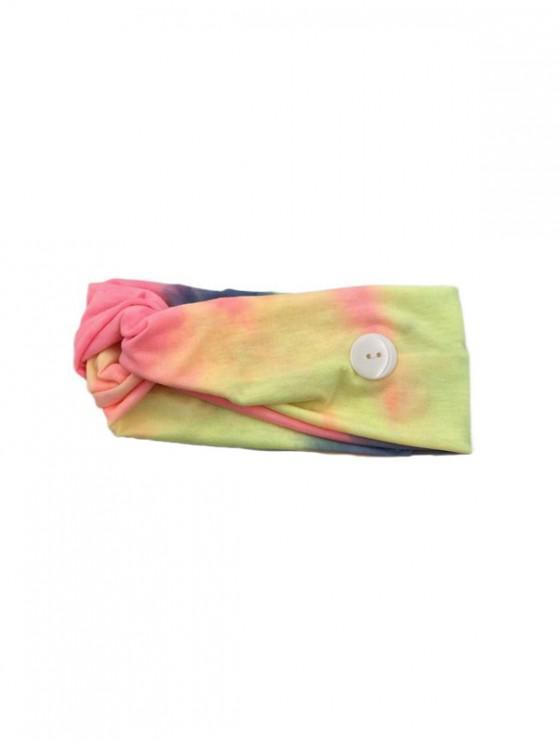 chic Cross Elastic Button Watercolor Headband - YELLOW YELLOW PINK