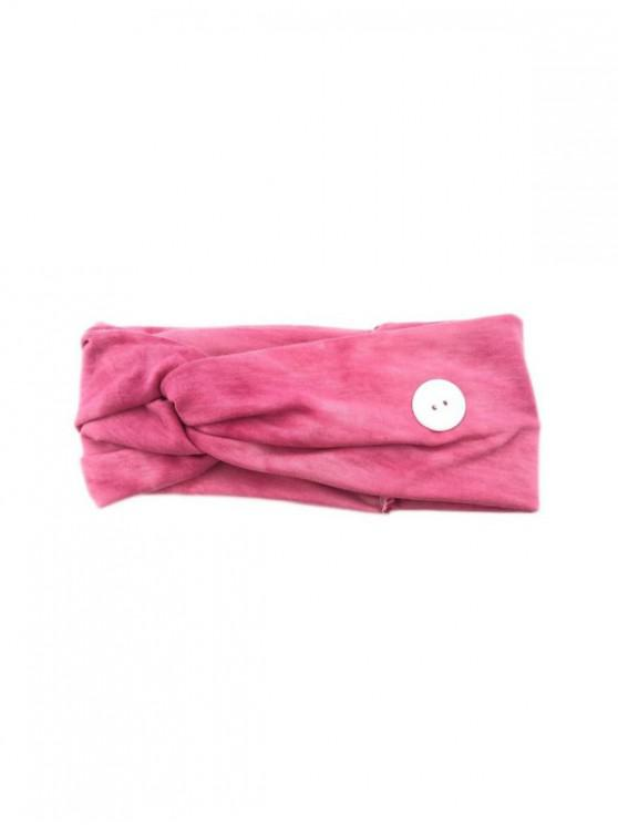 Tie Dye Print Knotted Headband with Button - النيون الوردي
