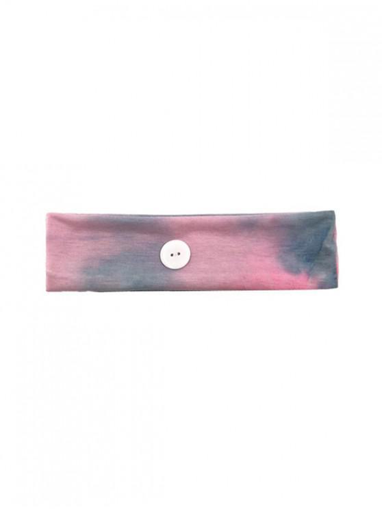 shop Gradient Color Button Elastic Headband - DARK GRAY PINK PURPLE