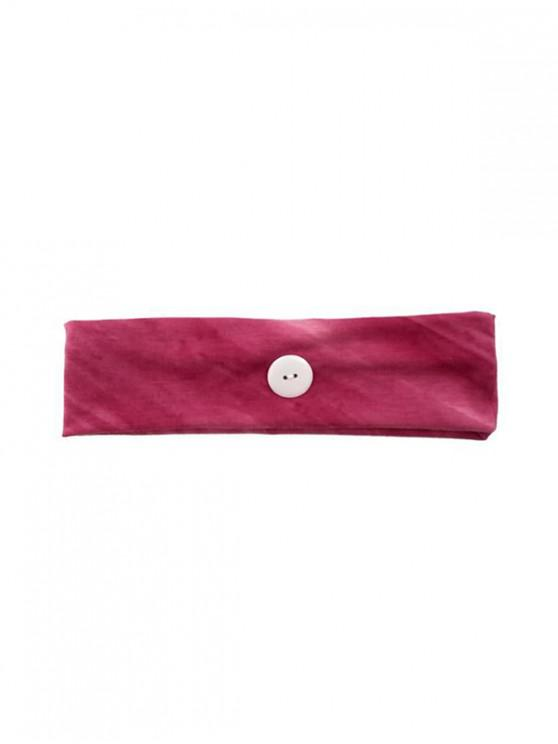 unique Cotton Button Wide Elastic Sports Headband - ROSE RED