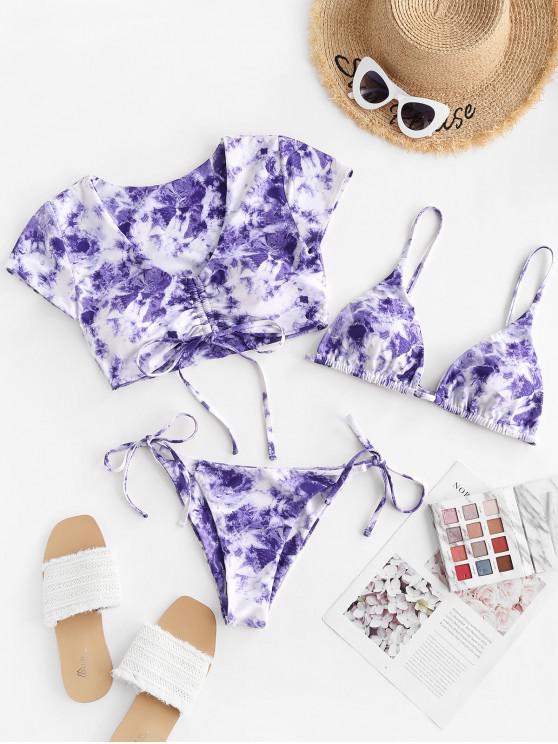 fashion ZAFUL Tie Dye Cinched Three Piece Swimsuit - PURPLE S