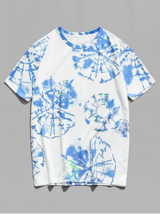 Painting Printed Short Sleeves Casual T-shirt - البحر الأزرق M