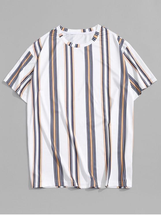 Round Neck Vertical Stripe Printed T-shirt - أبيض L