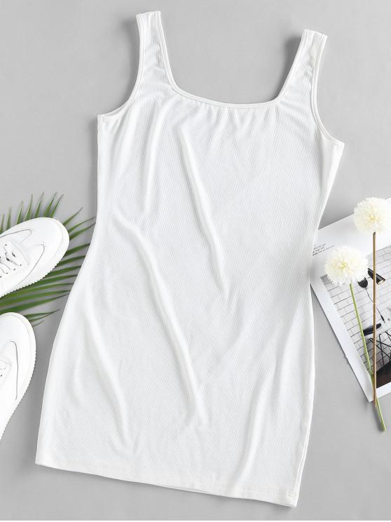 ZAFUL U Neck Mini Bodycon Dress - White M
