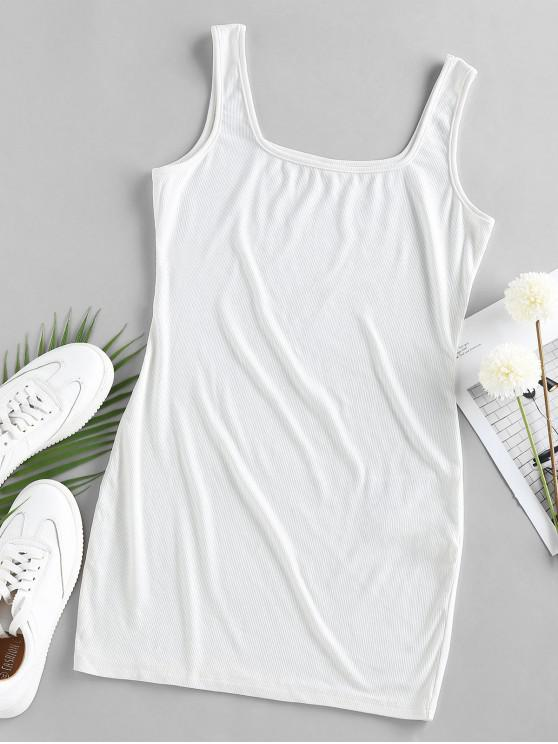 new ZAFUL U Neck Mini Bodycon Dress - WHITE S