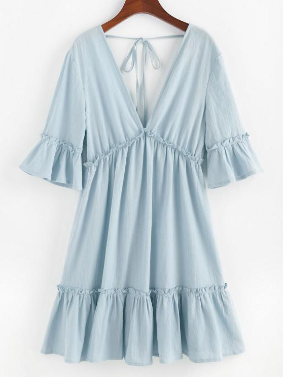 affordable ZAFUL Bell Sleeve Ruffle Plunging Dress - LIGHT BLUE S