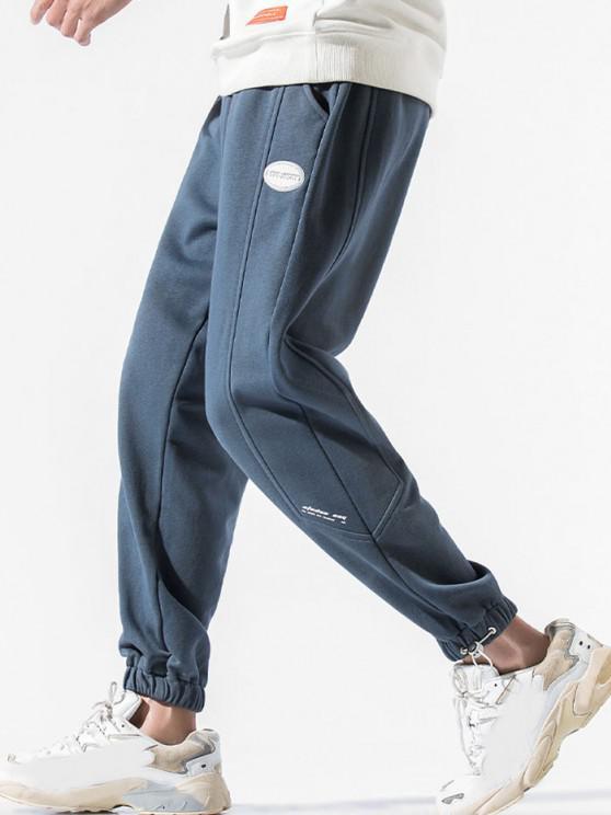 Drawstring PU Leather Label Design Sweatpants - ضباب أزرق 3XL