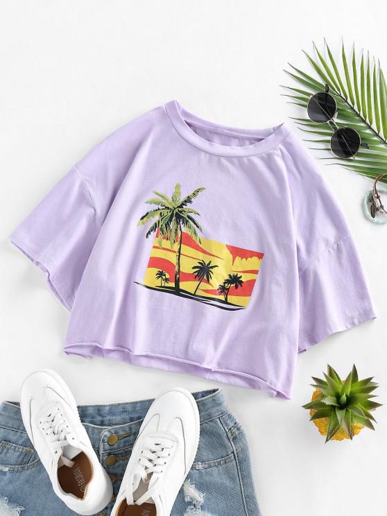 hot ZAFUL Palm Tree Print Frayed Tee - MAUVE S