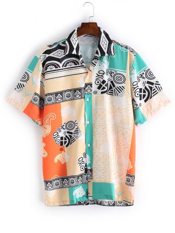 best Geometric Floral Contrast Spliced Button Shirt - MULTI-A L