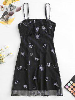 ZAFUL Funny Sun Print Ruched Mesh Cami Dress - Black Xl