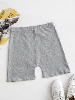 High Waisted Pull On Skinny Sports Shorts - Light Gray S