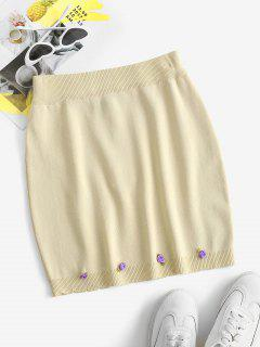 Flower Knitted Mini Bodycon Skirt - Light Coffee S