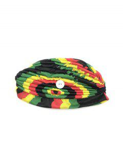 Colored Printed Mask Hanging Button Indian Hat - Multi-e